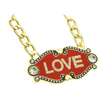 NECKLACE / LINK / LOVE / HEART / METAL / EPOXY / CRYSTAL STONE PAVED / GLASS BEAD / 1 1/2 INCH DROP / 16 INCH LONG / NICKEL AND LEAD COMPLIANT