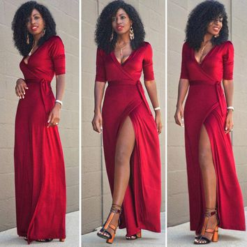 New Women Lady Party Dress Long Sleeve Brief Fashion Sexy Boho Summer Beach Long Maxi Dresses