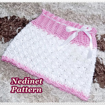 Crochet baby skirt pattern, crochet baby clothing pattern, 0-3 years, dress pattern, How to make baby skirt