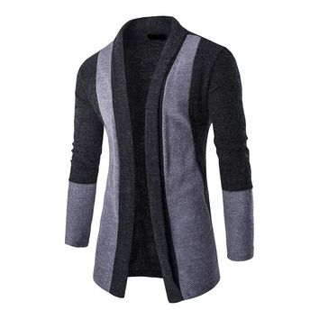 Mens Patchwork Fashion Men Sweater Cardigan Masculino Slim Fit Casual Long Sleeve Cardigan Outerwear With Shawl Collar