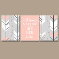 Modern Girl Nursery Wall Art Print Aztec Tribal Arrows Prints Wall Art Girl Nursery Quote Wall Art She Be But Little She is Fierce Set of 3