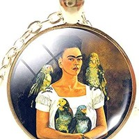 Mod Provisions Frida Kahlo Me and My Parrot Glass Cabochon Pendant Necklace