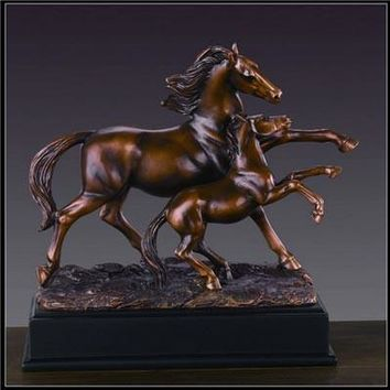 Two Horses Bronze Figurine - 10""