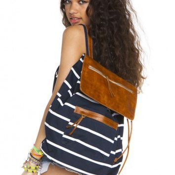 Brandy ♥ Melville |  Navy stripe leather flap backpack - Accessories