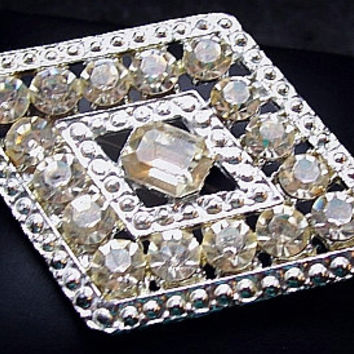 "Art Deco Rhinestone Brooch Pin Diamond Shape Silver Metal Wedding Hollywood Glamour 2.5"" Vintage"