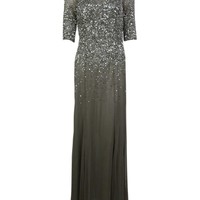 Adrianna Papell Women's Sequined Half Sleeves Illusion Mesh Gown