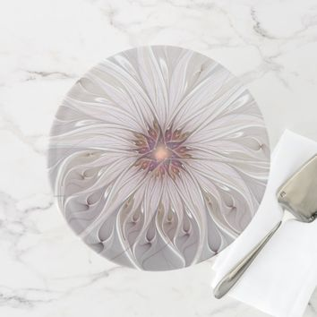 Floral Fantasy, Abstract Modern Pastel Flower Cake Stand