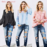 Hot sexy loose casual imitation linen long-sleeved shirt T-shirt(Only one piece)