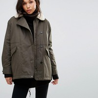 Parka London Swing Coat With Shearling Collar at asos.com