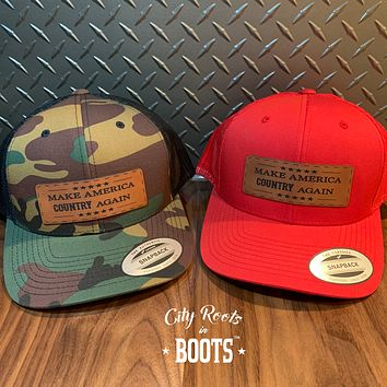 """""""Make America COUNTRY Again"""" Leather Patch Snapback Hat"""