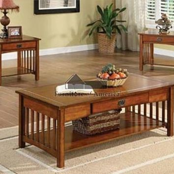 3 Pc. Seville Oak Wood Finish Mission Style Table Set With Drawer Under Table Top