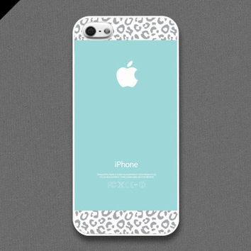 iPhone 5 case - Tiffany Teal and Gray Leopard Pattern cases - also available in iPhone 4 and iPhone 4S size