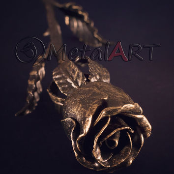 Gold Metal Rose - Golden Rose - Steel Anniversary Gift - Wrought Iron Rose