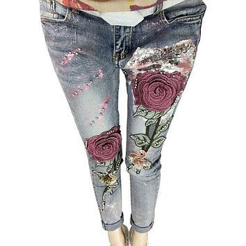 3D Flower Sequin Embroidered Rose Jean Fashion Beading Stretch 2017 Fashion Female Jeans Long Trousers Vintage Flare Jeans