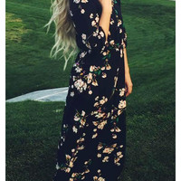 Navy Long Sleeve Floral Maxi Dress -SheIn(Sheinside)