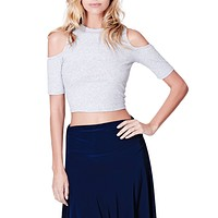 LE3NO Womens Ribbed Cut Out Shoulder Short Sleeve Mock Neck Crop Top
