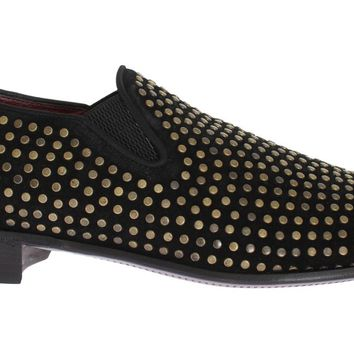 Dolce & Gabbana Black Suede Leather Studded Loafers