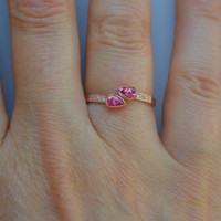 Open 14 K Rose Gold Bypass Ring With Mahenge Spinel and Diamonds