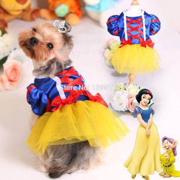 2016 New Dog Tutu Dress Pet Cat Costume Snow White Princess Puppy Dresses for Wedding Party Summer Satin Pet Clothes Skirts 20