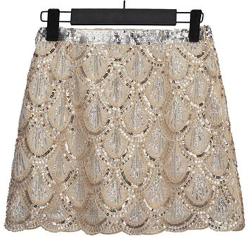 Vintage 1920s Gatsby Flapper Costume Women Fish Scale Sequin Skirt Bead Embellished High Waist Mini Chiffon Skirt Party Jupe