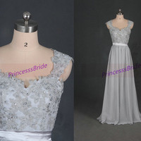 Floor length chiffon lace prom dresses in gray,latest elegant women dress for prom party,cheap bridesmaid gowns under 150.