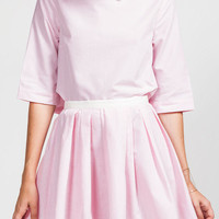 Pink Tux Flared Skirt