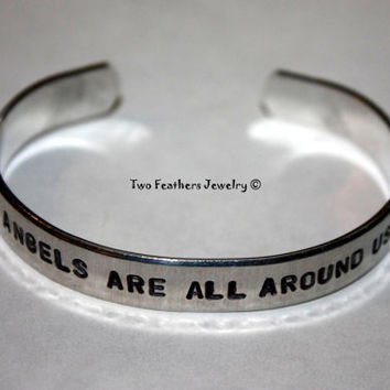 Angels Bracelet - Hand Stamped Cuff - Message Bracelet - Aluminum Cuff - Inspirational Cuff - Gift For Her - Gift For Him - Angel Wings