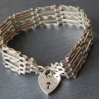 Hallmarked Sterling Silver Gate Bracelet with Padlock Clasp and Extension Chain