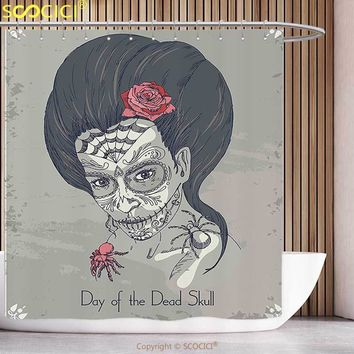 Funky Shower Curtain Day Of The Dead Decor Dia de Los Muertos Skull Girl with Roses Image Print Charcoal Grey Dimgrey Pink