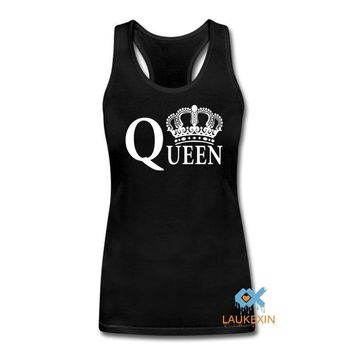 Cool King Queen Harajuku Couples Singlets Tops Crops For Summer 2016 Fashion Camisetas Mujer Bustier Crop top haut femme sexy TankAT_93_12