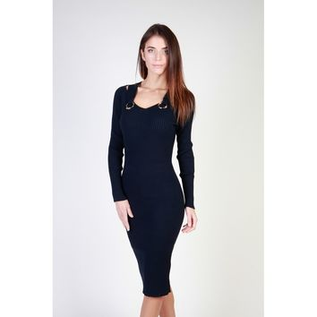 "Women's Navy Blue ""Cavalli Class"" Long Sleeve V-Neck Dress"
