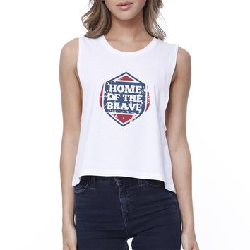 Home Of The Brave White Cotton Unique Graphic Crop Tee For Women