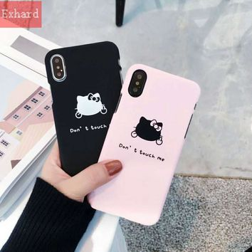 Newest PC Case Cute Hello Kitty Letter don't touch me Case For iPhone X 8 8 Plus 7 7 Plus 6 6s 6 Plus Case Cover Fundas Coque