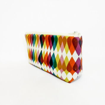 Medium Pouch Cosmetic Bag Toiletry Bag Abstract Shapes in Olive, Eggplant, Teal and Mustard