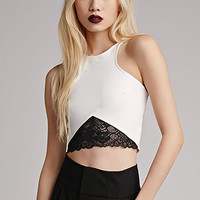 Lace-Paneled Crop Top
