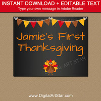 Thanksgiving Chalkboard Sign - Printable Thanksgiving Photo Prop - Thanksgiving Decor - DIY Chalkboard Decor - First Thanksgiving Decor