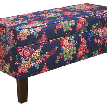 "Breene 39"" Floral Storage Bench, Navy, Entryway Bench"