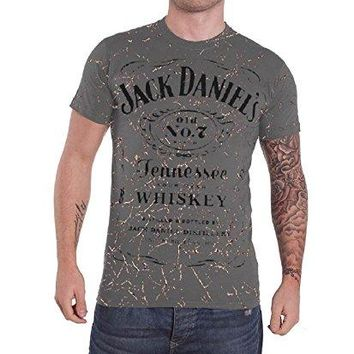 Jack Daniels Classic Logo Acid Washed Official Mens New Grey T Shirt