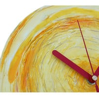 Unique Sun Wall Clock art  MINIMAL WALL CLOCK, yellow orange red modern wall clock, rich texture, office decor modern home design wall clock