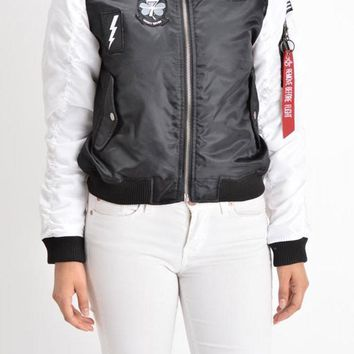 Women's Patched Two-Tone Flight Bomber Jacket RJK1002 - J3D