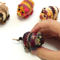 New collection- Dark striped piggy knitted baby toy, little pigs stuffed toy, handknit