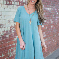 Take Me T-shirt Dress, Seafoam