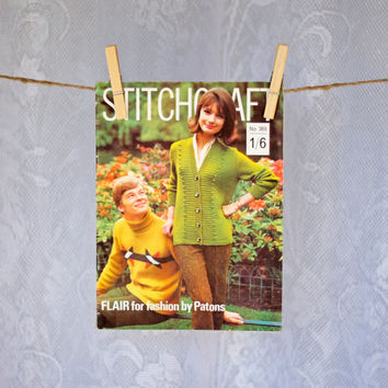 Vintage Stitchcraft Magazine 1960s Pattern Book including Knitting, Crochet, Embroidery, Rugmaking & Crafts Autumn/Fall Issue Full Swing
