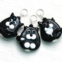 Black Cat Pendant, Black and white, black Kitten, Cat Jewelry, Lampwork glass Cat, Adoptable, Cat lover gift, Pet Adoption, Cat lady