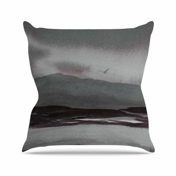 """Cyndi Steen """"Gray Landscape """" Gray Watercolor Painting Throw Pillow"""