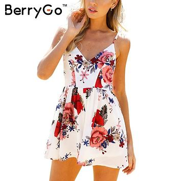 BerryGo Backless sexy bodysuit women jumpsuit romper Summer beach boho floral print overalls White chiffon playsuit leotard