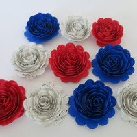 "Red, Blue and White Sheet music roses, 10 big 3"" paper flowers set, America theme party, political decor, Military ball decorations, dance"