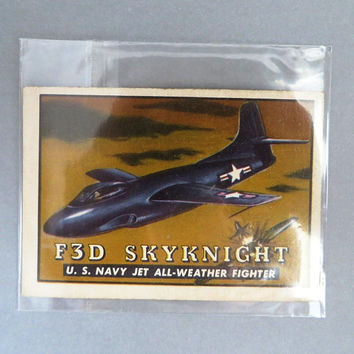 TOPPS Wings Trading Card, F3D Skynight, Vintage Airplane Collectible Card, Card Number 22, 1952 Collectors Card