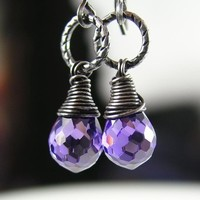 Purple Earrings Sterling Silver Cubic Zirconia by DorotaJewelry