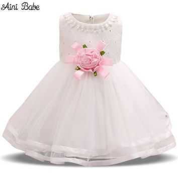 Aini Babe Baby Girl 1st Birthday Dress Infant Party Costume For Kids Clothes Baby Summer Frock Outfits Baby Baptism Dresses Girl
